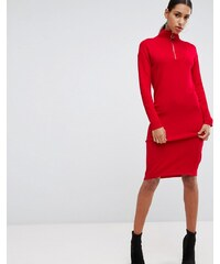 fb8d0e23706 ASOS DESIGN ASOS Knitted Dress with Zip Up Neck - Red