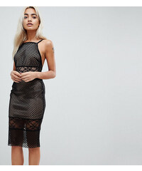 1d5251b003 ASOS PETITE Lace & Mesh Mix Midi Pencil Dress - Black/nude
