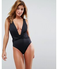 cc869a36077 ASOS DESIGN recycled plunge ruched front swimsuit - Black