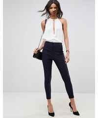 61c9876fe286 ASOS DESIGN high waist trousers in skinny fit - Navy