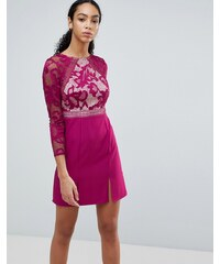 Little Mistress Long Sleeve Skater Dress With Lace Upper - Raspberry bf2ee7b4015