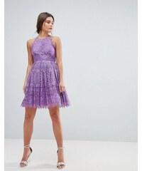 ASOS DESIGN ASOS Pinny Prom Mini Dress in Lace - Purple 34eeebfbb5d