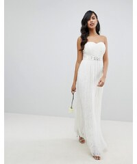 Lipsy Bridal Multiway Allover Lace Maxi Dress with Sash Belt - White 7773071331