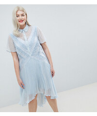 ASOS Curve ASOS DESIGN Curve shirt dress in dobby lace - Blue fa815f8462