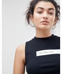 Calvin Klein Jeans High Neck Crop Top With White Stripe Logo - Ck black ce14495986