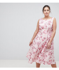 f1095424f376 Chi Chi London Plus Fit and Flare Midi Dress with Seam Detail in Floral  Print -
