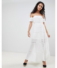 Parisian Off Shoulder Crochet Maxi Dress - White 6ae1b40d80