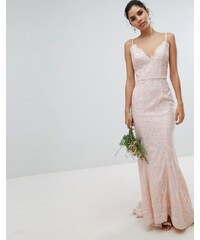 Chi Chi London bridal premium lace maxi dress with fishtail in white - Nude c3937ec195