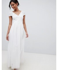 Little Mistress allover broderie plunge front maxi dress in white - White 577437c62ca