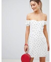 PrettyLittleThing Polka Dot Bardot Mini Dress - White 3a002bcd8ba