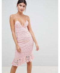 2b5ffc04674 PrettyLittleThing Cami Lace Ruffle Hem Midi Dress - Light pink