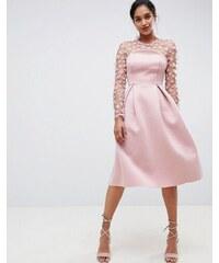 ASOS DESIGN 3D floral lace bandeau scuba prom midi dress - Blush 84e6fe3af7
