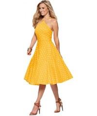 1a435f0b9f5f NoName - Dámské retro šaty s puntíky žluté