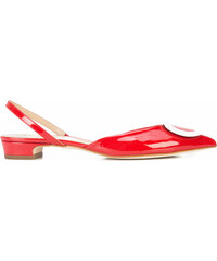 Fabio Rusconi buckled pointed slingback flats - Red a3ed731195