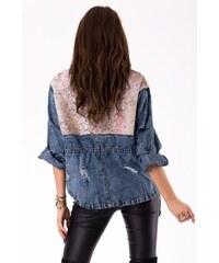 CIMINY Dámská bunda CIMINY Glitter jeans a růžové flitry - jeans + růžová  sequins a701ea6f08