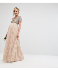 Maya Maternity V Neck Maxi Tulle Dress with Tonal Delicate Sequins - Taupe  blush 9cbfe753d3