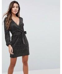 2513593481be ASOS Gold Spot Plisse Wrap Mini Dress - Black
