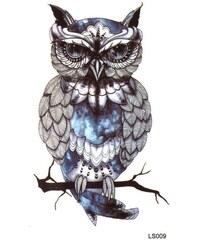 285aca467 B-TOP Vodeodolné dočasné tetovanie motiv SOVA - čierna/modrá