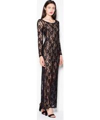 b5f181b903f1 VENATON Dlhé čierne čipkované šaty VT091 Black