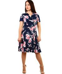 Glara Krátke dámske kvetované retro šaty pre plnoštíhle 59afe908d8f