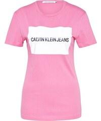 Calvin Klein Jeans Tričko  INSTITUTIONAL BOX  růžová   bílá cd63d6f652