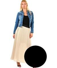 56c7672ef6f YooY Dlouhá dámská plisovaná sukně skládaná (černá