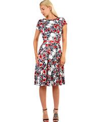 e7fddb683bee Glara Dámske kvetované retro šaty midi dĺžka