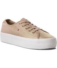 Tenisky TOMMY HILFIGER - Metallic Flatform Sneaker FW0FW02984 Desert Sand  932 f6c3a793fb1