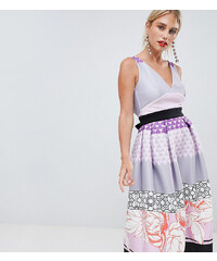 a55bce11a5d6 True Violet midi prom dress in print mash up - Multi