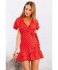 7a93e8bfe4f BUfashion Červené zavinovací šaty s mašlí