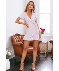 BUfashion Růžové zavinovací šaty s mašlí 83b7ca02a5