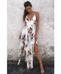 BUfashion Bílé midi šaty s květinovým vzorem 34358d2dc9