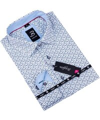 9cfcc0cabd9 Bílá s modrým vzorem pánská košile slim fit Brighton 109908