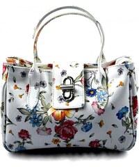Kožená luxusní menší bílá květinová kabelka do ruky lila little VERA PELLE  26084 0f38045d981
