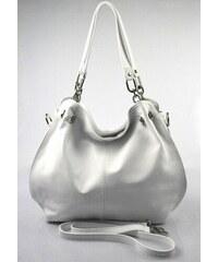 Kožená luxusní bílá kabelka do ruky i přes rameno lorreine VERA PELLE 26084 74da99108ca