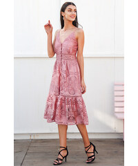 4ebcd78586f Simplee krajkové letní midi šaty staro-růžové DR1140 PINK