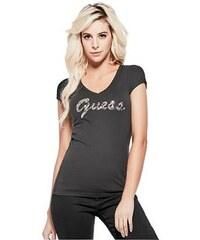 7a14105fa38c GUESS tričko Ceelie Sequin Logo V-Neck Tee černé