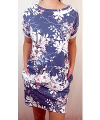 Made in Italy Dámské letní šaty modré s květy a krajkou 6b8a32abf7