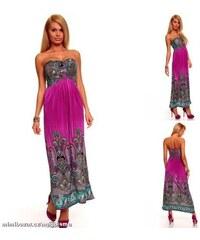 LM moda A Dlouhé letní fialové šaty vzorované 9330 5dbab621834