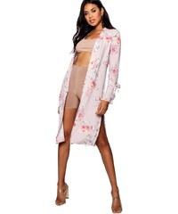 bd0a60347632 BOOHOO Ružová kvetovaná dlhšia bunda