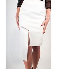 BUfashion Bílá sukně se vzhledem broušené kůže 50dfa12171