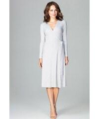 LENITIF Spoločenské šaty odhaľujúce ramená K485 Grey - Glami.sk bfc9704b941