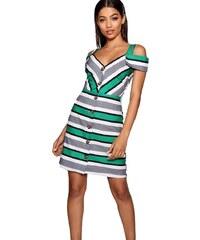 fdab9d770a0 BOOHOO Letní mini šaty s proužkou a knoflíky