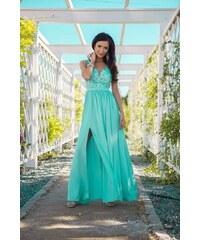 ce88c88656f8 Dlouhé společenské šaty Synthia mentolové 42