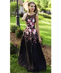 Eva   Lola Společenské saténové šaty s květy b23c7a227d