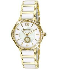 Luxusní bílé společenské keramické zlacené náramkové hodinky JVD ... 62541499420