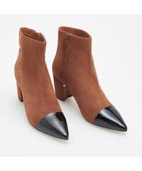 Reserved - Kožené kotníkové boty na vysokém podpatku - Hnědá f00344e991