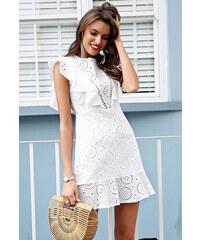 c9334874902 Simplee krajkové bílé šaty s volány krátké S18DR0170 WHITE