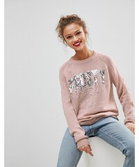Brave Soul Christmas Jumper With Frosty Sequin Slogan - Pale pink 2b5bf7f8c1