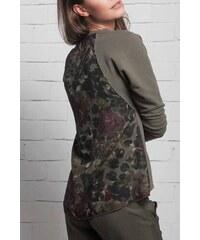 Deha khaki tričko s květinovými motivy - XS 53f36518de